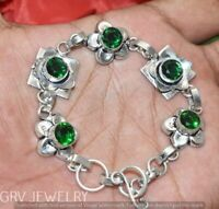Natural Chrysoprase Peridot Handmade 925 silver plated Cluster bracelet Y0113