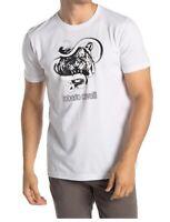 Roberto Cavalli HST609 A475 00053 Tiger Graphic Crew Neck Cotton T-Shirt White