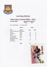 "LUIS BOA MORTE WEST HAM UTD 2006-2011 ORIGINAL SIGNED ""SHOOT OUT"" CARD"