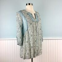 Size MP J Jill Blue Paisley 3/4 Sleeve Peasant Shirt Top Blouse Medium Petite