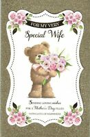 Special WIFE - FABULOUS LARGE MOTHER'S DAY CARD With 8 PAGE INSERT Mothers Bear