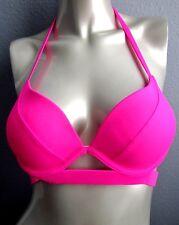 NWT Victorias Secret The Hottie Halter Banded Push-Up Bikini Top Neon Lotus Pink