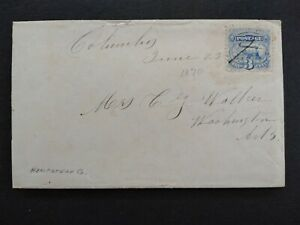 Arkansas: Columbus 1870 #114 Cover + Letter, Ms, Hempstead Co