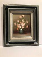 Pink Roses Still Life Wood Framed Oil Painting Signed Pele