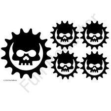 Black Skull Cog Bicycle Reflective Stickers Decals
