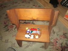Hand Painted Noah'S Ark Children'S Combo Bench And Stool
