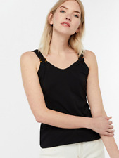 Monsoon Beth Jersey Trim Basic Cami Top, Size 14, Black, BNWT