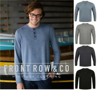 Front Row - Washed Long Sleeve Henley T-Shirt - 100% Cotton - SIZES XS-XXL
