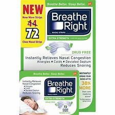 Breathe Right Extra Strength Nasal Strips, Clear Nasal Strips, 72 Strips