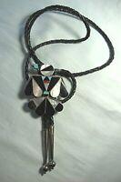 Southwest Zuni Thunderbird Bolo Necklace  Turquoise / Coral / Onyx / MOP