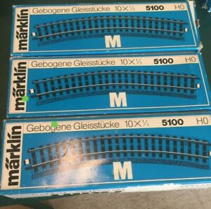Marklin HO M-track 3 boxes NEW and UNUSED curves #5100 (30 Pcs),