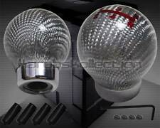 SILVER CARBON FIBER ROUND BALL 5 SPEED SHIFT KNOB LEXUS BMW AUDI VOLKSWAGEN