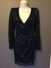 Asos Ax Paris Dress 10 Blue Lace Wiggle Cb Body Con Pencil Slip Blogger Kim K