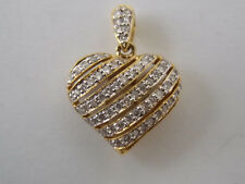 Puffed Heart Pendant with Approx 1/2 Carats Diamonds on 18K Yellow Gold