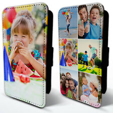 PERSONALISED PHOTO LEATHER FLIP CASE COVER WITH COLLAGE FITS IPHONE & GALAXY