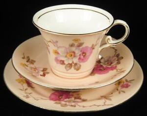 Aynsley Peach-Orange Floral Cup/Saucer/Plate Trio