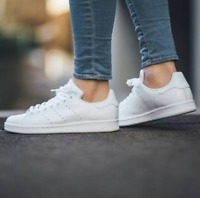 SCARPE SNEAKERS ADIDAS ORIGINALS STAN SMITH S75104 total white bianche