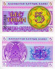 Kazakhstan 5 Tyin Banknote World Paper Money Unc Currency Pick p3a Bill Note