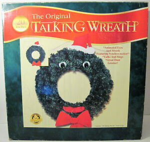 """1997 GEMMY THE ORIGINAL TALKING WREATH 20"""" MOUTH EYES MOVE NEVER USED WORKS BOX"""