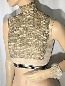 Victorian dickie Blouse high Neck collar sleeveless Hook close S lace net 1900s