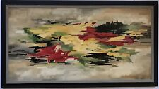 Colorful Oil Abstract Painting On Canvas Made In 1966