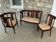 Antique 1894 Victorian Settee Couch Arm Barrel Style Chair Mother Of Pearl Inlay