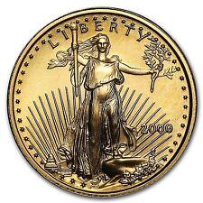 AMERICAN GOLD EAGLE--$5.00--RARE--BU--KEY DATE--U.S.MINT--2000--RARE--1/10 TROY-