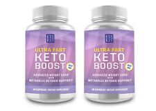 2 Bottles: ULTRA FAST KETO BOOST, ADVANCE KETONES NATURAL BHB, FREE SHIPPING