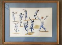 Painting Ink And Watercolour Ballet Of The Bowlers Signed Dated 94 Cricket