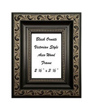 """2 1/2"""" x 3 1/2"""" Aceo Black Ornate Victorian Style Solid Wood Frame"""