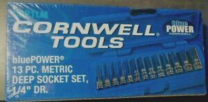 "Cornwell/bluePOWER 1/4"" Drive Deep Well Metric Sockets"
