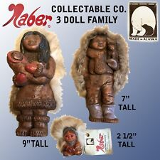 "NABER COLLECTABLE CO. 3 DOLL FAMILY ONE EACH 9"", 7"", 2 1/2"" MADE IN ALASKA"