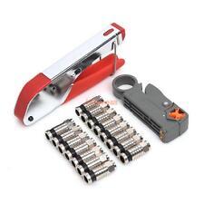 Coaxial Compression RG Connector Stripper Tool Kit RG6 RG59 Coax Cable Crimper
