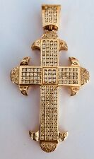 AWESOME 14K SOLID GOLD DIAMOND CROSS W / 208 HIGH QUALITY DIAMONDS = 6.24 CT WT.