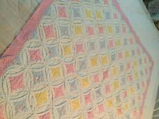 Vtg Baby Blanket, Cathederal Windows,44X39, Usa, Pink,Blue ,White
