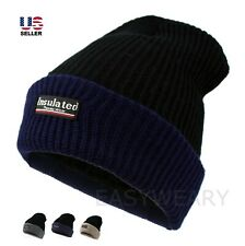 Mens Insulated Knit Fleece Lined Thick Warm Thermal Winter Snow Ski Hat Beanie