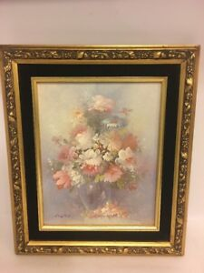 Floral Vase Of Flowers Oil Painting On Panel Sign Russo