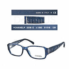 CHANEL 3208-Q c.1262 Blue tweed 51/16/135 Eyeglasses Rx Made in Italy - New