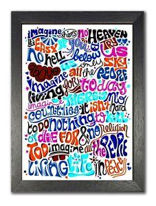 John Lennon Imagine Lyrics Poster Pop Art Print Peace Rock Music Classic Song