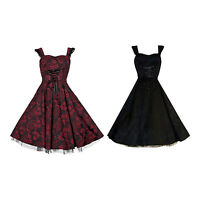 Ladies Vintage 50's Showgirl Pinup Damask Lace Up Full Circle Dress New 8 - 18