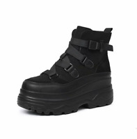 Women Thick Sole Wedge Heel High Top Lace Up Shoes Solid Black Sports Round Toe