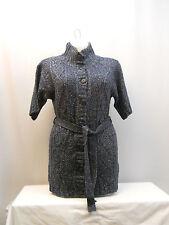 SIZE M Womens Button Down Sweater Dress NEW YORK&CO Blue Short Sleeve High Neck