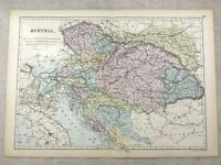 1891 Antik Map Of Österreich Austro Hungarian Reich Alte 19th Century Original
