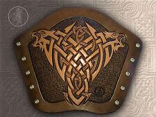 Hand Carved Leather Archery Bracer, Armguard Celtic Lions Design LARP