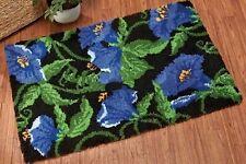 FLORAL BLUE MORNING GLORY FLOWER LATCH HOOK RUG KIT from UK Seller, BRAND NEW