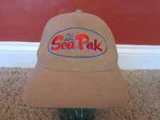 SEA PAK Shrimp & Seafood tan adjustable cap St. Simons Island hat Seapak