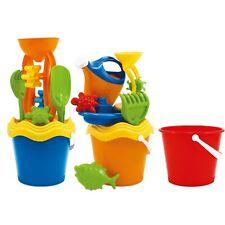 Kids Plastic 22cm 6-7Piece Colourful Beach Bucket Play Toy Sandbox Castle Summer