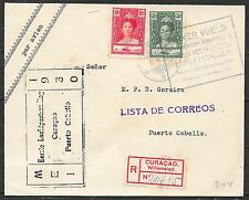 Curacao covers 1930 1st Flight R-cover to Puerto Cabello