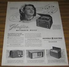1946 AD~GENERAL ELECTRIC RADIOS,PHONOGRAPHS~JO STAFFORD
