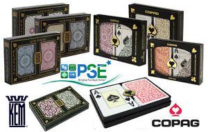 KEM ARROW BLACK GOLD RED BLUE COPAG 1546 PLAYING CARDS 100% PLASTIC POKER JUMBO